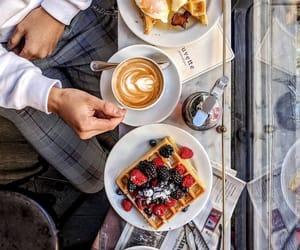 cappuccino, espresso, and food image