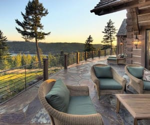 cabin, outdoors, and lodge image
