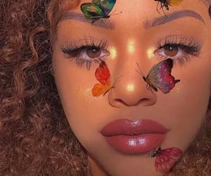 makeup, butterfly, and girl image