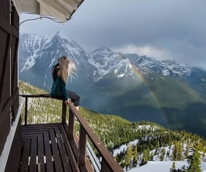 balcony, girl, and nature image