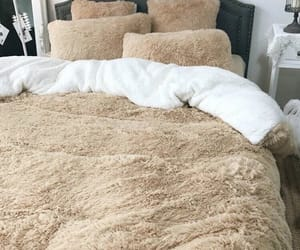 bedroom, comforter, and fluffy image
