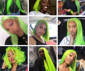 fashion, green hair, and hair image