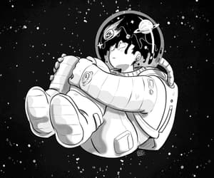 black and white, drawing, and space image