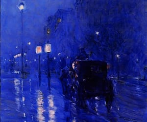 blue, blue glow, and paintings image