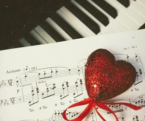 heart, piano, and music image