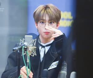 brown hair, glasses, and skz image