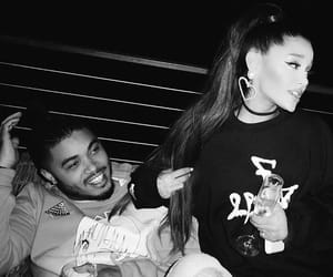 black and white, champagne, and ariana grande image