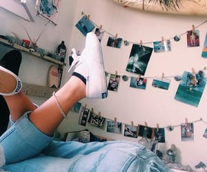 bedroom, denim, and shoes image
