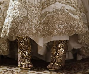 shoes, dress, and gold image