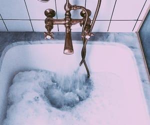 bath, blue, and bubbles image