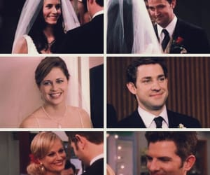 jim and pam, parks and rec, and friends image
