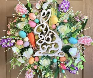 easter eggs, floral wreath, and eastereggs image