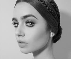 actress, lily collins, and black and white image