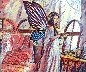 butterfly, woman, and character image