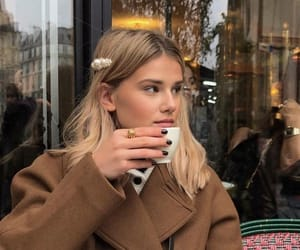 black nails, coffee, and hairstyle image