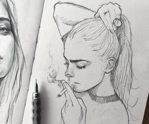 art, cigarette, and drawing image