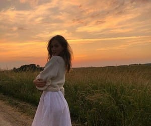 girl, fashion, and sunset image