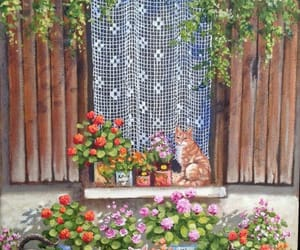 cats, flowers, and spring image