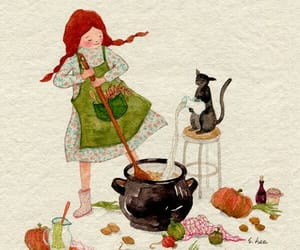 cat, girl, and cook image