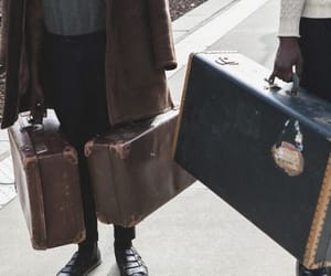 aesthetic, brown, and suitcases image