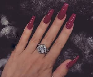 beauty, nails, and burgundy image
