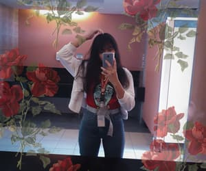alone, flowers, and jeans image