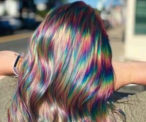 hair, style, and rainbow image