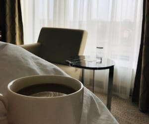 bed, morning, and coffee image