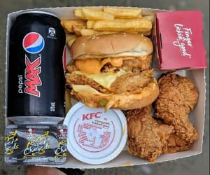 burger, Pepsi, and fried chicken image
