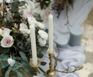 beautiful, candle, and flowers image