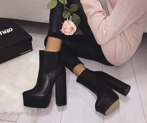 black, blush, and boots image