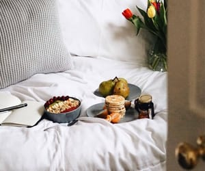 bed, breakfast, and decor image