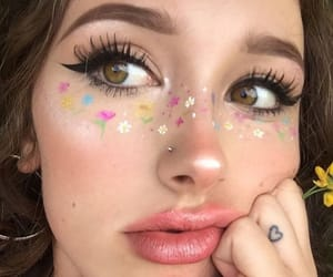 lips, makeup, and finger tattoo image