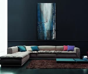 blue, large artwork, and dining room image