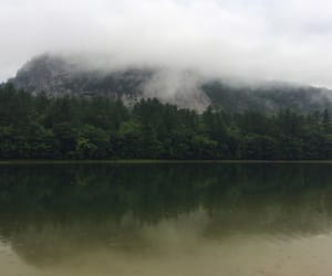 clouds, green, and lake image