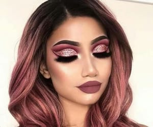 glitter, color hair, and make up image