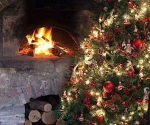 christmas, fireplaces, and tree image