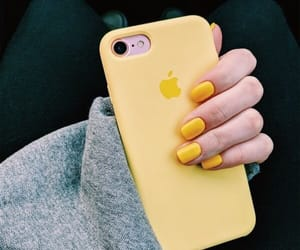 yellow, iphone, and nails image