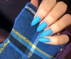 acrylics, blue nails, and matte image