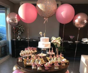 balloon, birthday, and cake image