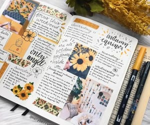 art, writing, and sunflowers image