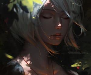 closed eyes, digital art, and fantasy image
