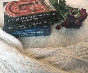 books, flowers, and roses image