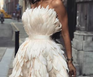 fashion, dress, and feather image