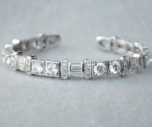 bridal jewelry, silver tone, and rhinestone cuff image