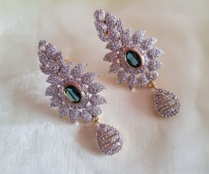 costume jewelry, etsy, and long earrings image