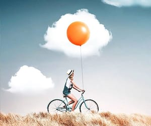 artwork, balloon, and bicycle image