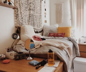blankets, dorm, and pillows image