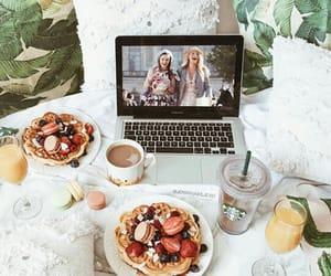 hotcakes, breakfast, and starbucks image
