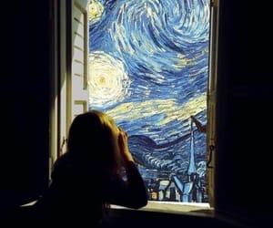 art, girl, and window image